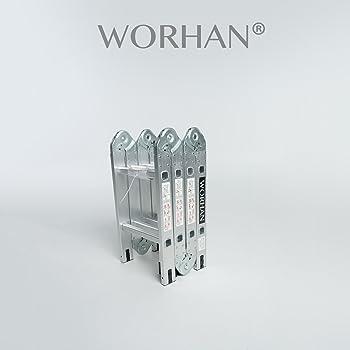 WORHAN® 2.5m Escalera Multiuso Multifuncional Plegable Tijera ...