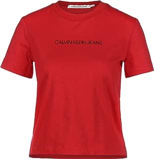 CALVIN KLEIN JEANS Kurzarm T Shirt Rundhals Stretch Logo Stick rot