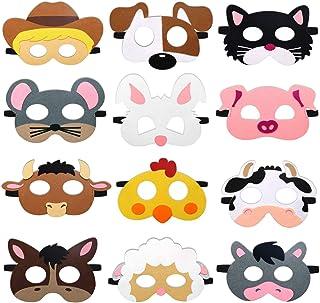 CiyvoLyeen Farm Animal Party Masks Barnyard Animal Felt Masks for Petting Zoo Farmhouse Theme Birthday Party Favors Kids C...