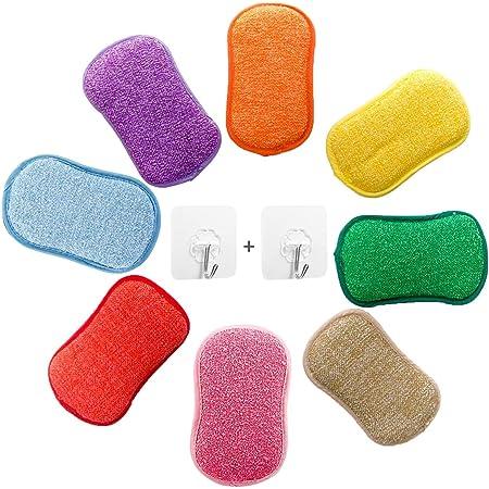Lot de 5 éponges vaisselle reutilisable eponges, AUERVO Double Action en Microfibre antibactériennes et résistantes pour Nettoyer la Vaisselle Poêlons ,avec 2 Crochets adhésifs