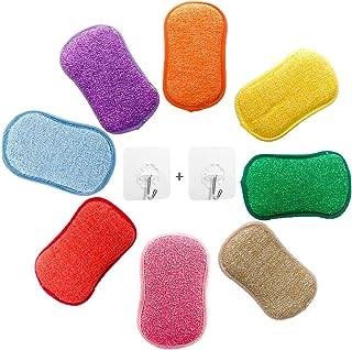 Lot de 5 éponges vaisselle reutilisable eponges, AUERVO Double Action en Microfibre antibactériennes et résistantes pour N...