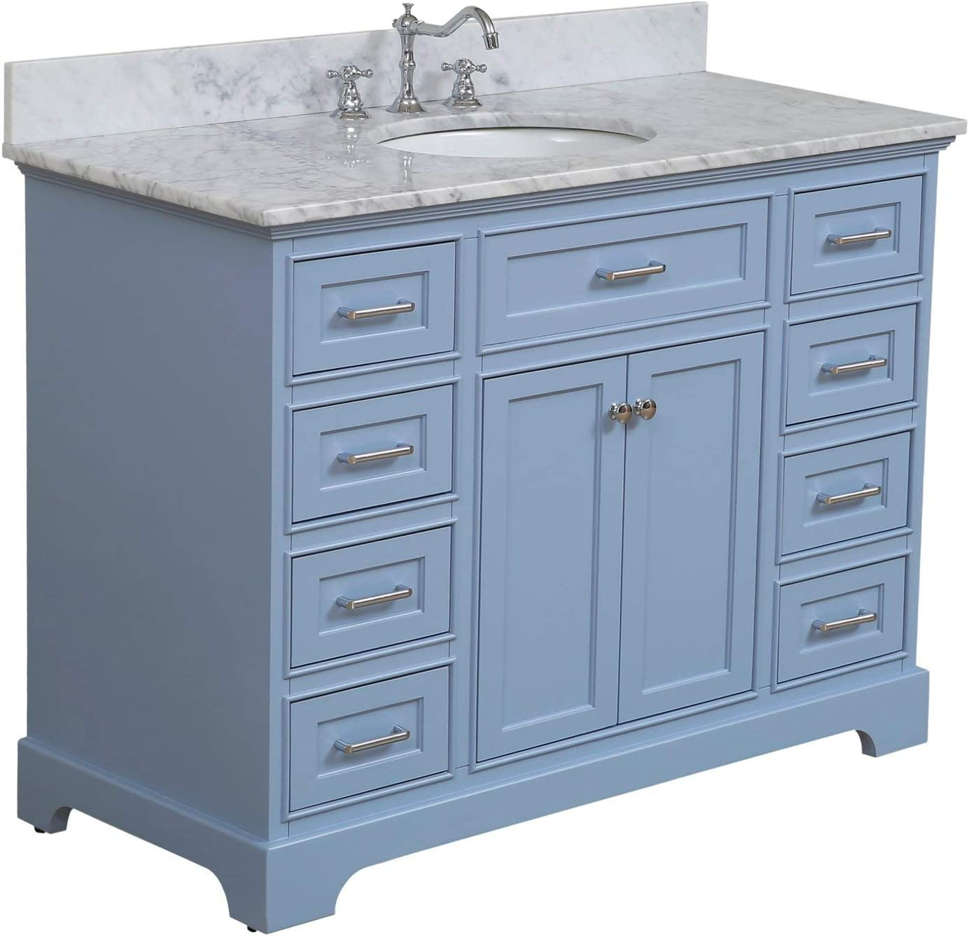 Amazon Com Aria 48 Inch Bathroom Vanity Carrara Powder Blue Includes Powder Blue Cabinet With Authentic Italian Carrara Marble Countertop And White Ceramic Sink Kitchen Dining