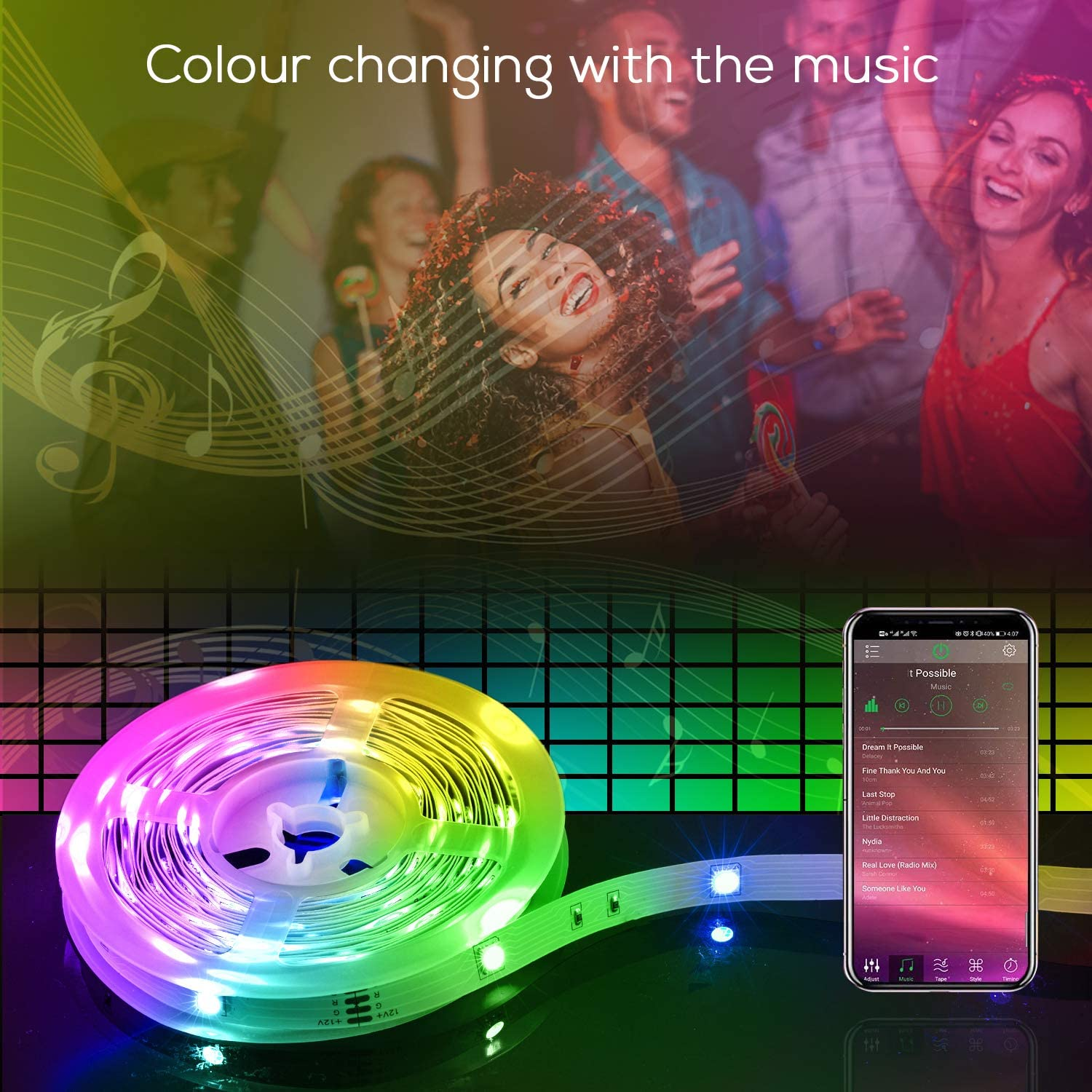 55% Off Coupon – Bluetooth Music Led Strip Lights 50FT for Room