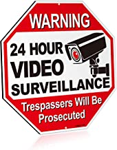"ANLEY 24 Hour Video Surveillance Aluminum Warning Sign, Trespassers Will Be Prosecuted - No Trespassing Security Alert - UV Protected and Weatherproof - 12"" x 12"""