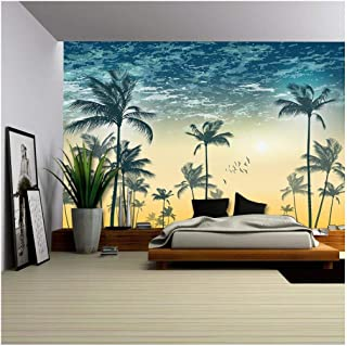 wall26 - Vector - Tropical Palm Tree Scene at Sunset or Sunrise Highly Detailed and Editable - Removable Wall Mural | Self-Adhesive Large Wallpaper - 66x96 inches