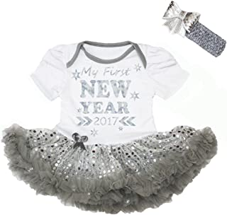 Petitebella Baby Girls' My First New Year 2017 White Bodysuit Sequins Tutu Set