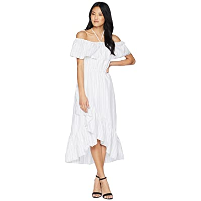 BB Dakota Halsey Striped Ruffle Dress (Optic White) Women