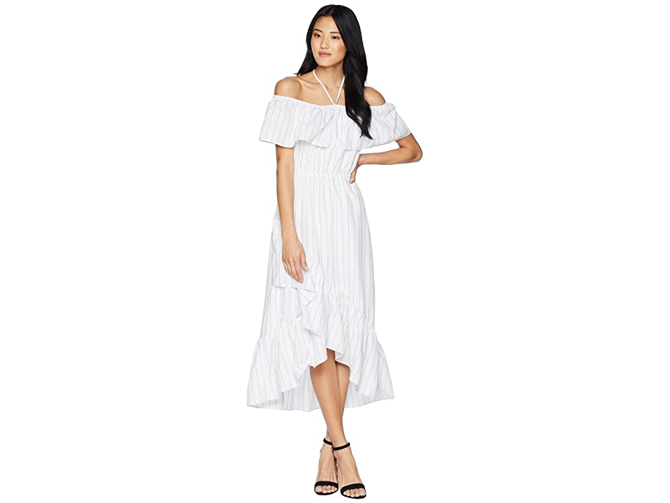 BB Dakota Halsey Striped Ruffle Dress (Optic White) Women