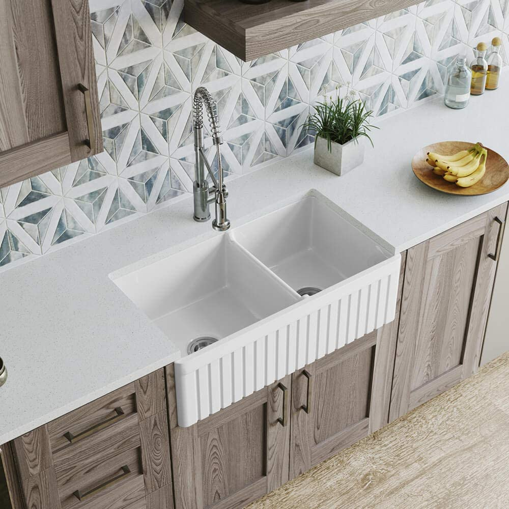 MR Direct 413 Fireclay Double favorite White Farmhouse Bowl Complete Free Shipping Kitchen Sink