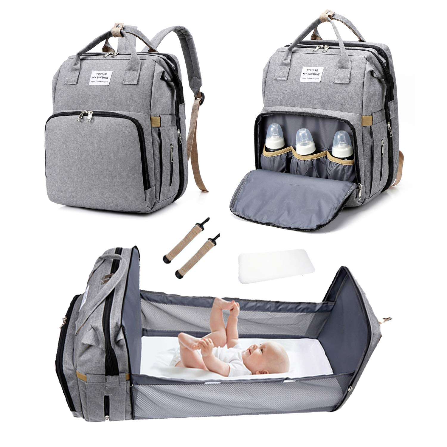 3 in 1 Travel Bassinet Foldable Baby Bed, Diaper Bag Backpack Changing Station, Baby Bag Portable Crib, Waterproof, Large Capacity, Stylish and Durable, Gray