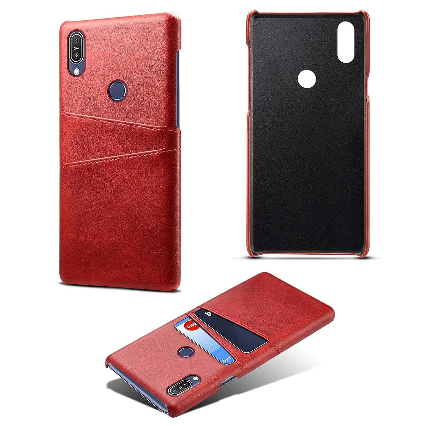 ベールヒゲ葡萄Asus Zenfone Max Pro (M1) ZB601KL ホルスター シェル フリップ, Moonmini カバー Suit プレミアム 垂直 レザー ポーチ スリーブ 携帯 シェル 男性 ?と カード スロット ホルスター の Asus Zenfone Max Pro (M1) ZB601KL (Red)