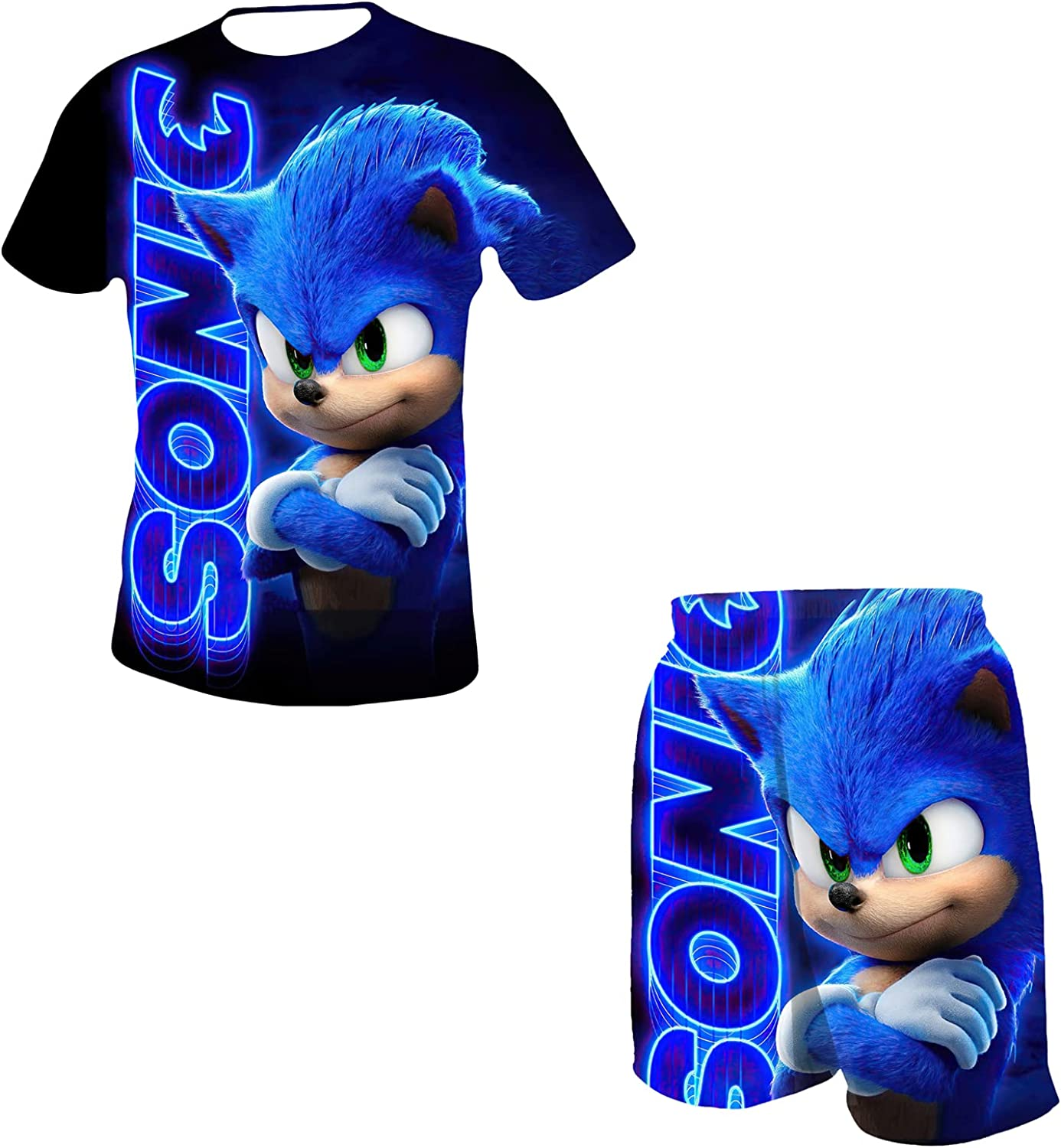 Boys and Girls Sonic The Hedgehog Short Sleeves and Shorts,...