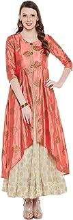 Natty India Peach & White Silk Women's Kurti & Skirt (CB11261B-XS)