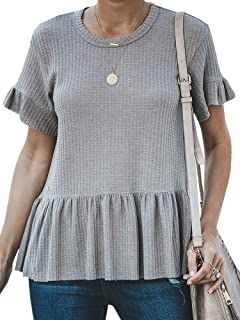 Farktop Womens Waffle Knit Ruffle Shirts Peplum Flare Sleeve Round Neck Loose Fitting Tee Tops