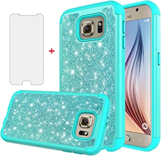 Asuwish Phone Case for Samsung Galaxy S6 with Tempered Glass Screen Protector Cover Cell Accessories Bling Slim Glitter Hybrid Rugged Protective Glaxay 6s S 6 GS6 SM-G920V G920A Girls Women Green Teal