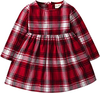 Toddler Baby Girls Outfit Long Sleeve Red Gradient Plaid Dress
