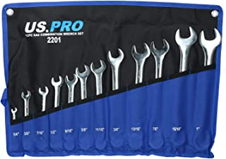 11pc AF Imperial combination spanner set open and ring 3/8