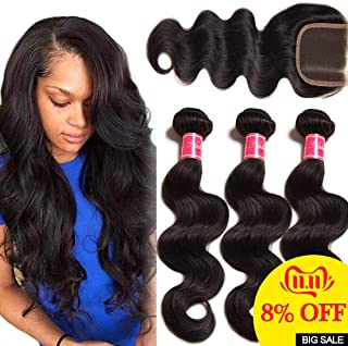 Nadula 8A Unprocessed Brazilian Remy Virgin Human Hair Body Wave Weave Pack of 3 with Free Part Lace Closure Natural Color(14 16 18+12inch Closure)
