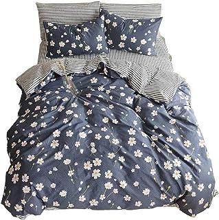 13b36fc0856 Duvet Cover Flower Printed 3 Piece 100% Cotton Bedding Set With Zipper  Closure Reversible Striped