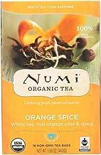 Numi Tea Organic Orange Spice White Tea, 16 Tea Bags per Box (Pack of 6 Boxes)