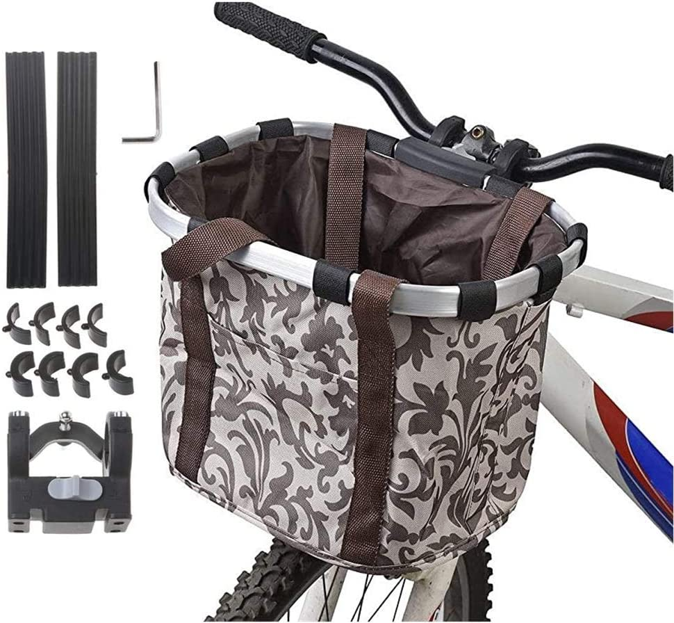 Padded Handle Removable Collapsible for Storage biria Bicycle Basket Black Aluminum and Textile with Quick Release Bracket Dual Front Quick Release Basket