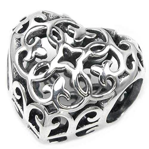 Dreambell .925 Sterling Silver Dog Puppy Pet Love Heart Paw Foot Print Bead For European Charm Bracelet