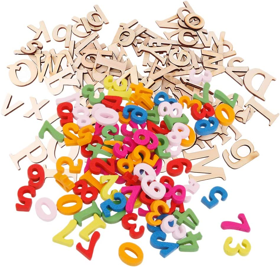 Elegant Colcolo 152 Pieces Mixed Gifts Wooden Let Wood Numbers Alphabet