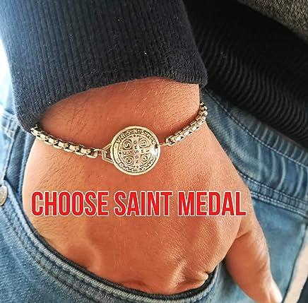 Religious Charm Chain Bracelets - Catholic Saint Medals For Men Women Kids Christian Jewelry Gift Medjugorje Handmade