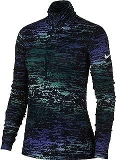 Women's Pro Warm Ink Stripe Half Zip Long Sleeve Shirt