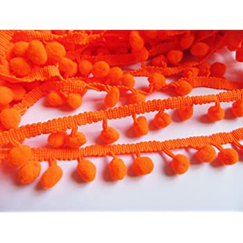 YCRAFT One Roll 18 Yards Ball Fringe 7//8 Wide Pom Pom Trim Ribbon Sewing-Orange