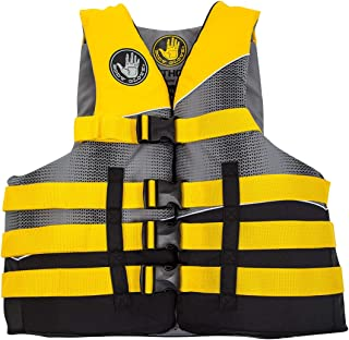 Body Glove Mens Method Life Pfd Jacket, Black/Yellow/Silver/Grey, Small/Medium