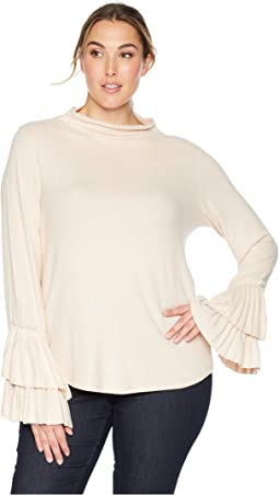 Plus Size Linda Pleated Cuff Cozy Top
