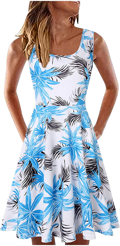 UQGHQO Summer Dresses for Women, Womens Fashion Sunflower Print Sleeveless U Neck Short Mini Tank Dress Beach Dress
