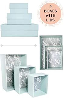 HappiBox Hikidashi Box Set of 3 | Dresser Drawer Organizer for Clothes | Decorative Storage Box with Lid | Clothing Organizer | Desk Drawer Organizer| Organizing Bin | Memory Box | Cardboard (Aqua)