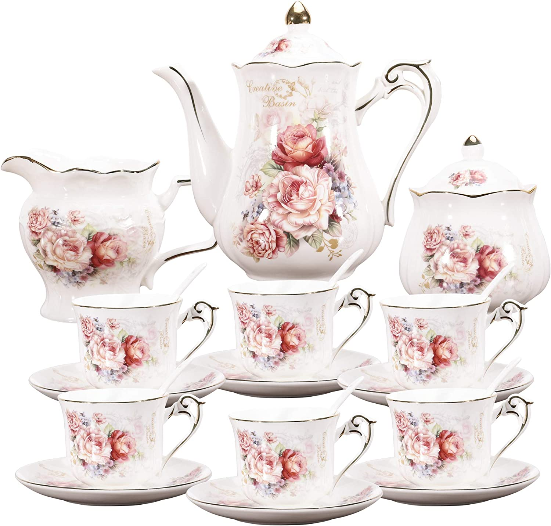 fanquare 15 Pieces Porcelain Vintage Max 90% OFF Set safety Flowers Rose Pa Tea