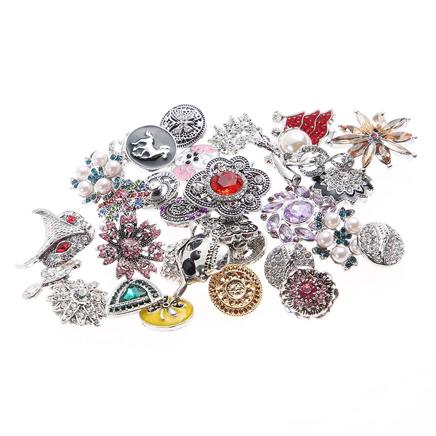 Greentime 20pcs Mixed Random Rhinestone Snap Chunk Press Button Jewelry Charms 18mm for Snap Jewelry Making