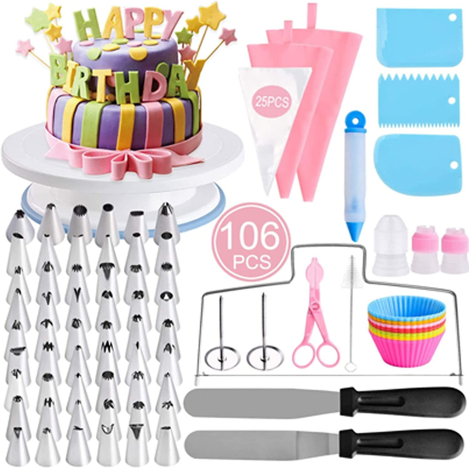 106 Pcs Cake Choice Decorating mart Kit with Turntable 54 Supplies Ici
