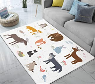 Area Rug Forest Animals Cartoon Bear Deer Rabbit Fox Cute Large Floor Mat for Living Dining Dorm Playing Room Bedroom Home Decor 5' x 6.6'