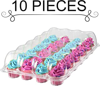 Cupcake Containers, 24 Compartment – 10 Pack – High Dome Clear Plastic Disposable Cupcake Boxes, Great Tray and Holder for Muffins and Bakery Goods Storage, with Detachable Lid.