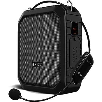 SHIDU Bluetooth Amplificador De Voz inalambrico, 18W 4400mAh Impermeable Amplificador De micrófono Megáfono Portátil Altavoz Voice Amplfiier De para profesor, Guía Turístico, promotores etc.