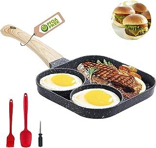 Poêle à frire anti-adhésive - 3 sections - Poêle à griller carrée - Poêle à œufs au plat pour petit déjeuner, hamburger, s...