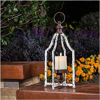 Glitzhome Farmhouse White Wood Metal Lanterns Decorative Hanging Candle Lanterns (White Large)