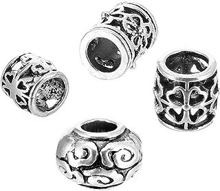 Pangda 40 Pieces Hair Tube Beads Dreadlocks Beads Hair Braiding Jewelry Hair Decoration Accessories, 4 Styles, Tibetan Silver