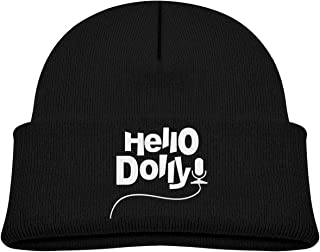 ABY14-YJ Baby Boy's Girl's Knit Beanie Hat Hello Dolly Cuffed Cotton Soft Fashion Skull Cap Black