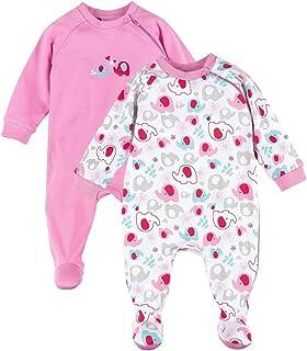 Baby-Pyjama Geringelt Overall aus Reiner Baumwolle mit Patches an Ellenbogen /& Paspelierung an Druckknopfleiste Bornino Basics Schlafoverall
