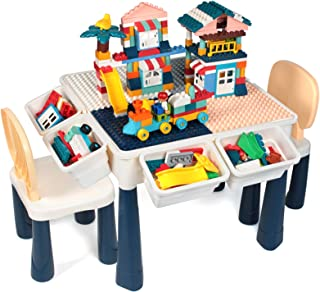 GobiDex Upgrade Multi Activity Table Set for Kids with 2 Chairs-Play Table and Building Block Table with Storage,158 Pcs B...