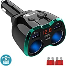 Type C Cigarette Lighter Splitter, 2-Socket USB C Car Charger Adapter Multi Auto Power Outlet 12V DC 80W with Red LED Voltmeter Switch Replaceable Fuse Dual USB Port for Cell Phone GPS Dash Cam, Green