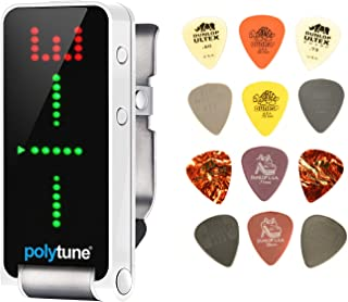 TC Electronic PolyTune Clip Bundle with Dunlop PVP101 Pack of 12 Picks