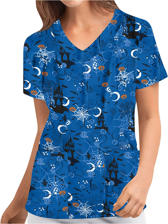 TIANMING Memphis Mall Women Short Sleeve Halloween Pumpkin Limited Special Price Graphi Shirt Ghost