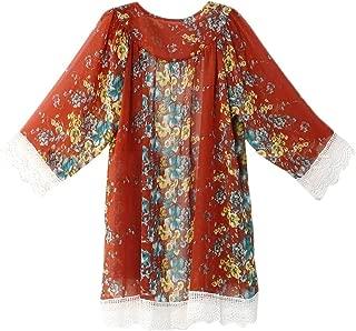 RkYAO Women Open Front Kimono Wrap Floral Print Chiffon Lace Trim Cardigan